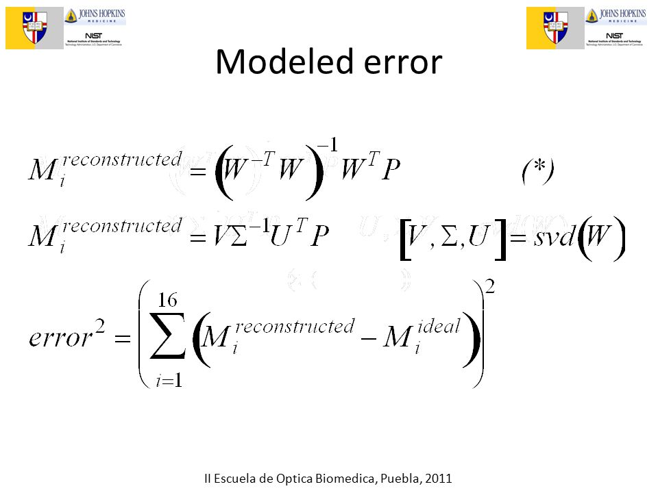 II Escuela de Optica Biomedica, Puebla, 2011 Modeled error