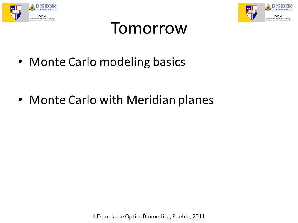 II Escuela de Optica Biomedica, Puebla, 2011 Tomorrow Monte Carlo modeling basics Monte Carlo with Meridian planes