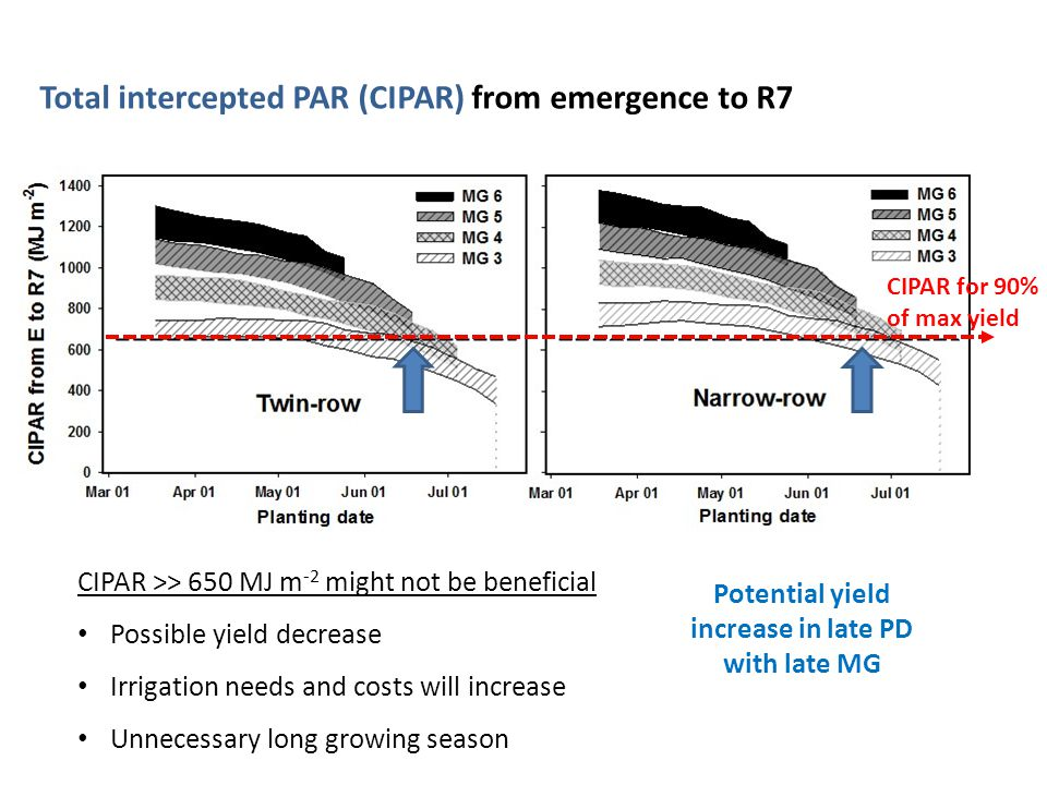 Light interception study Total intercepted PAR (CIPAR) from emergence to R7 CIPAR for 90% of max yield Potential yield increase in late PD with late MG CIPAR >> 650 MJ m -2 might not be beneficial Possible yield decrease Irrigation needs and costs will increase Unnecessary long growing season