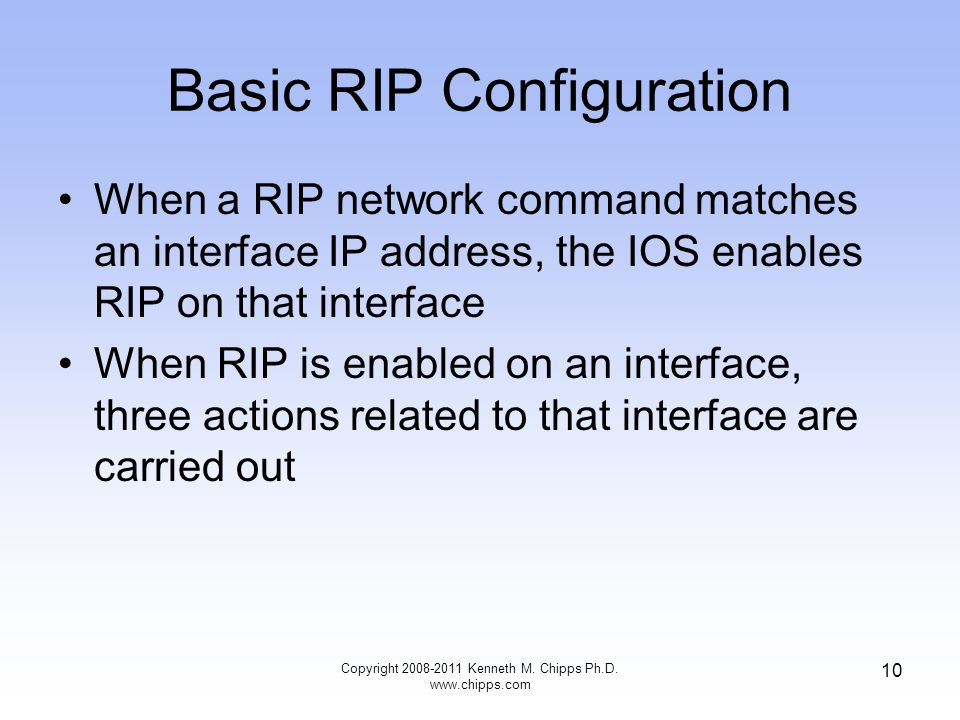 Basic RIP Configuration When a RIP network command matches an interface IP address, the IOS enables RIP on that interface When RIP is enabled on an interface, three actions related to that interface are carried out Copyright 2008-2011 Kenneth M.