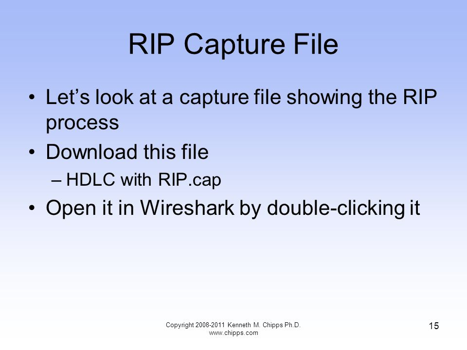 RIP Capture File Let's look at a capture file showing the RIP process Download this file –HDLC with RIP.cap Open it in Wireshark by double-clicking it Copyright 2008-2011 Kenneth M.