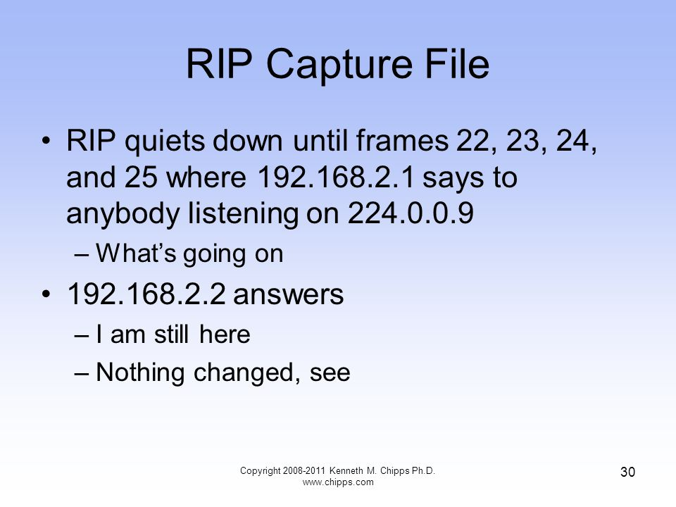 RIP Capture File RIP quiets down until frames 22, 23, 24, and 25 where 192.168.2.1 says to anybody listening on 224.0.0.9 –What's going on 192.168.2.2 answers –I am still here –Nothing changed, see Copyright 2008-2011 Kenneth M.