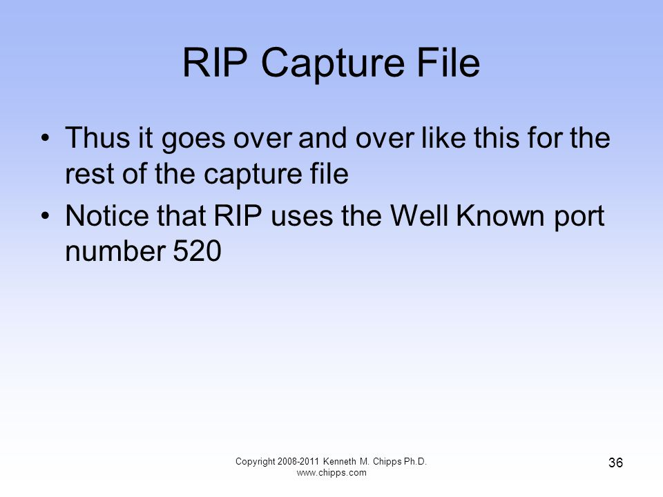 RIP Capture File Thus it goes over and over like this for the rest of the capture file Notice that RIP uses the Well Known port number 520 Copyright 2008-2011 Kenneth M.