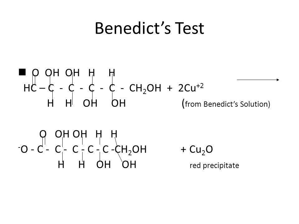 Benedict's Test O OH OH H H HC – C - C - C - C - CH 2 OH + 2Cu +2 H H OH OH ( from Benedict's Solution) O OH OH H H - O - C - C - C - C - C -CH 2 OH + Cu 2 O H H OH OH red precipitate