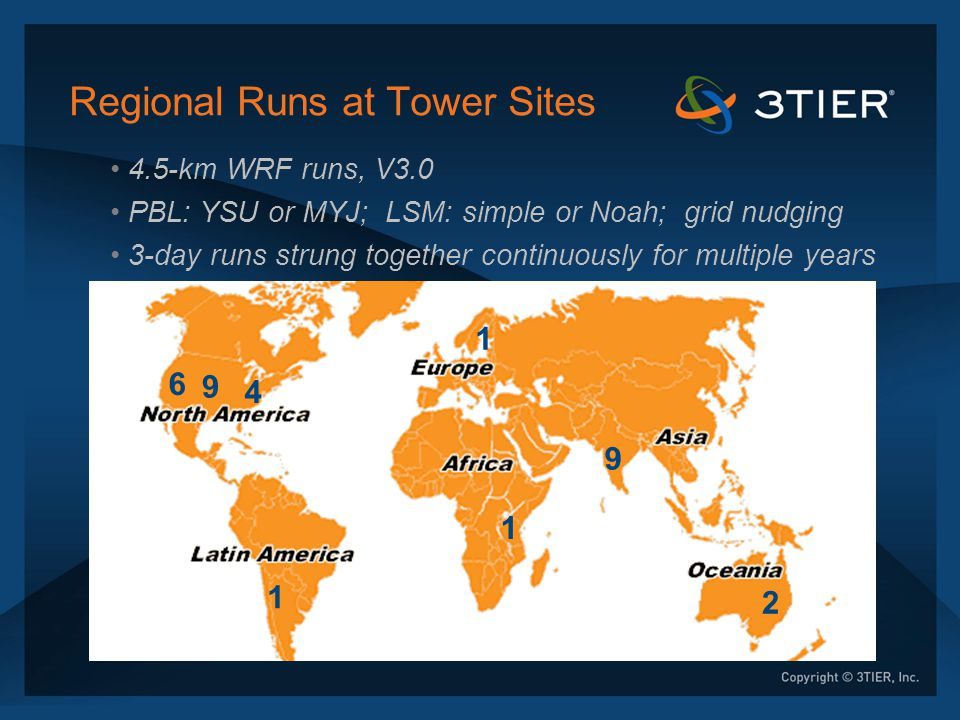 Regional Runs at Tower Sites 4.5-km WRF runs, V3.0 PBL: YSU or MYJ; LSM: simple or Noah; grid nudging 3-day runs strung together continuously for mult