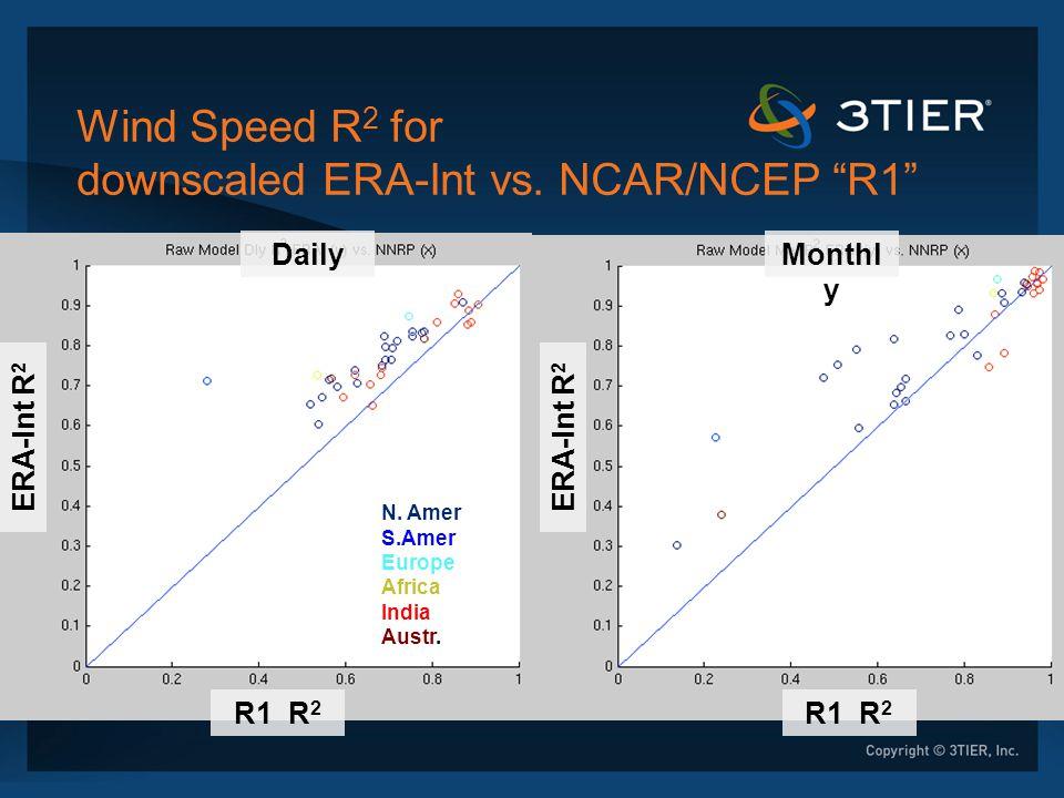 """Wind Speed R 2 for downscaled ERA-Int vs. NCAR/NCEP """"R1"""" DailyMonthl y R1 R 2 ERA-Int R 2 N. Amer S.Amer Europe Africa India Austr."""