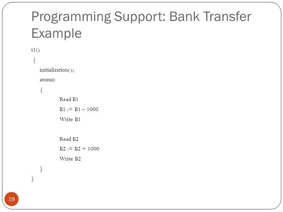 Programming Support: Bank Transfer Example 19 t1() { initialization(); atomic { Read B1 B1 := B1 – 1000 Write B1 Read B2 B2 := B2 + 1000 Write B2 } }