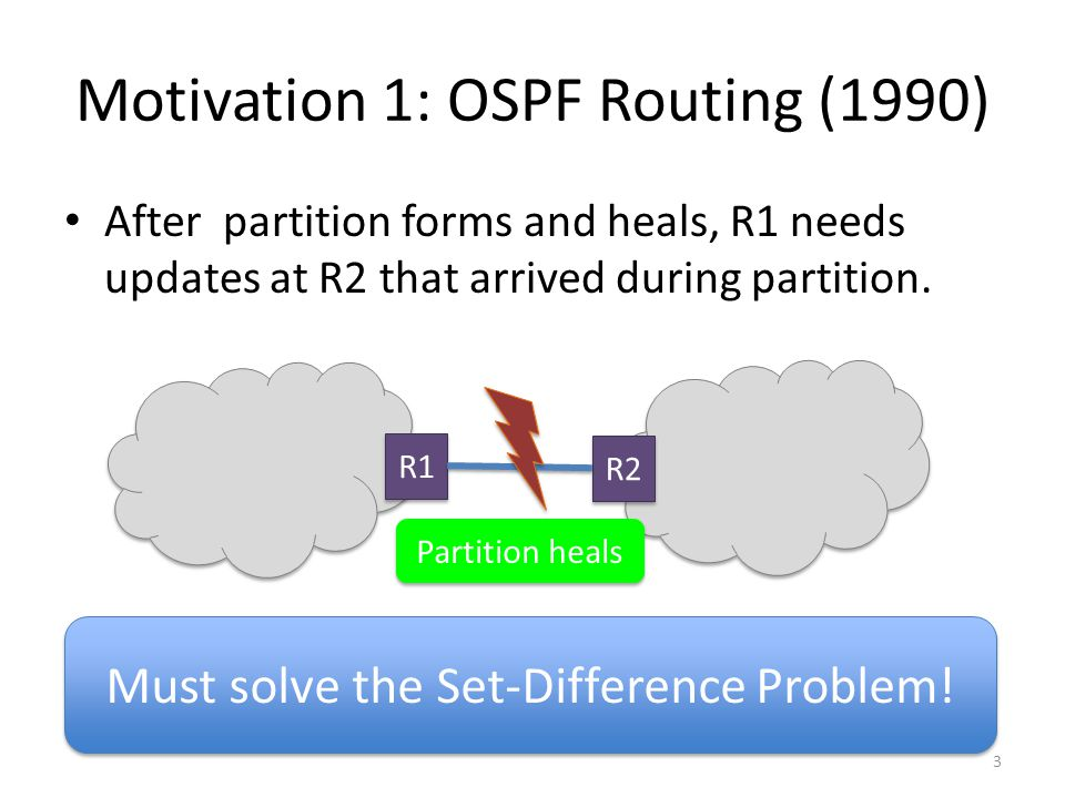 Motivation 1: OSPF Routing (1990) After partition forms and heals, R1 needs updates at R2 that arrived during partition.