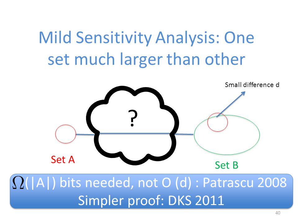 40 Mild Sensitivity Analysis: One set much larger than other .