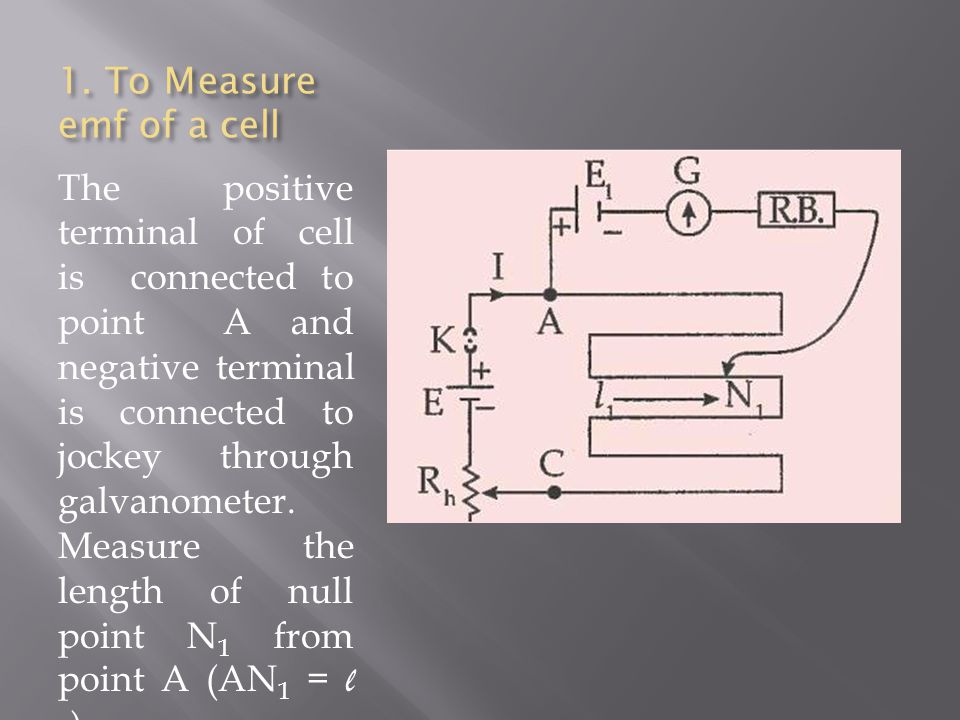 1. To Measure emf of a cell The positive terminal of cell is connected to point A and negative terminal is connected to jockey through galvanometer. M