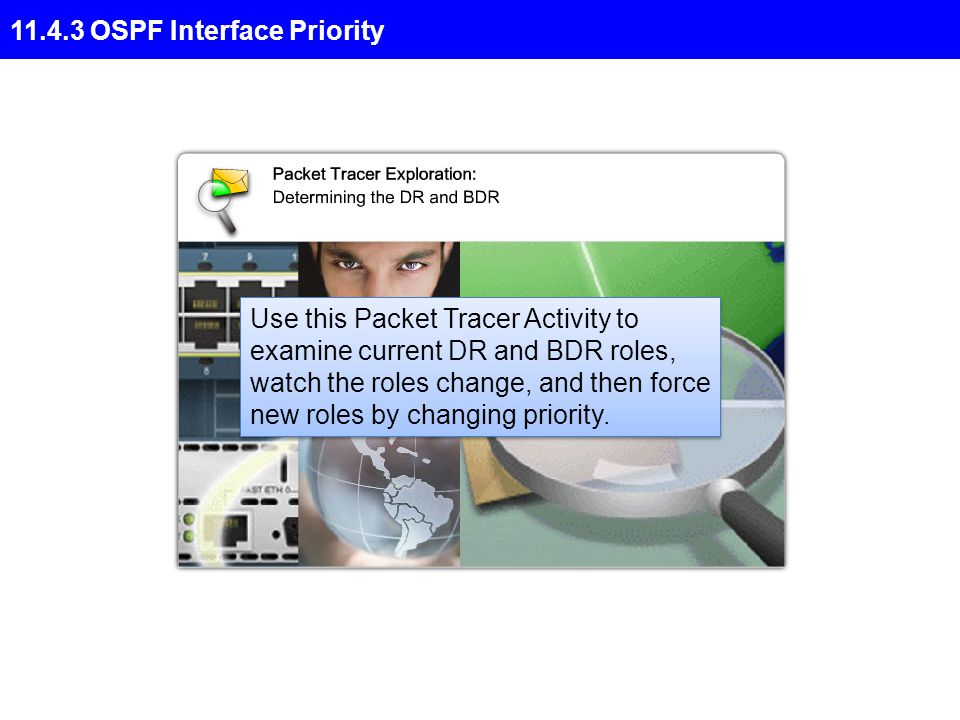 11.4.3 OSPF Interface Priority Use this Packet Tracer Activity to examine current DR and BDR roles, watch the roles change, and then force new roles by changing priority.