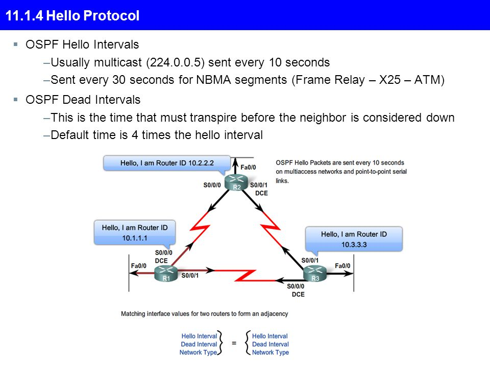 11.1.4 Hello Protocol  OSPF Hello Intervals –Usually multicast (224.0.0.5) sent every 10 seconds –Sent every 30 seconds for NBMA segments (Frame Relay – X25 – ATM)  OSPF Dead Intervals –This is the time that must transpire before the neighbor is considered down –Default time is 4 times the hello interval