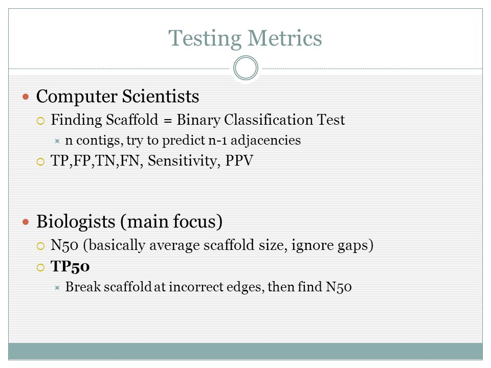 Testing Metrics Computer Scientists  Finding Scaffold = Binary Classification Test  n contigs, try to predict n-1 adjacencies  TP,FP,TN,FN, Sensitivity, PPV Biologists (main focus)  N50 (basically average scaffold size, ignore gaps)  TP50  Break scaffold at incorrect edges, then find N50