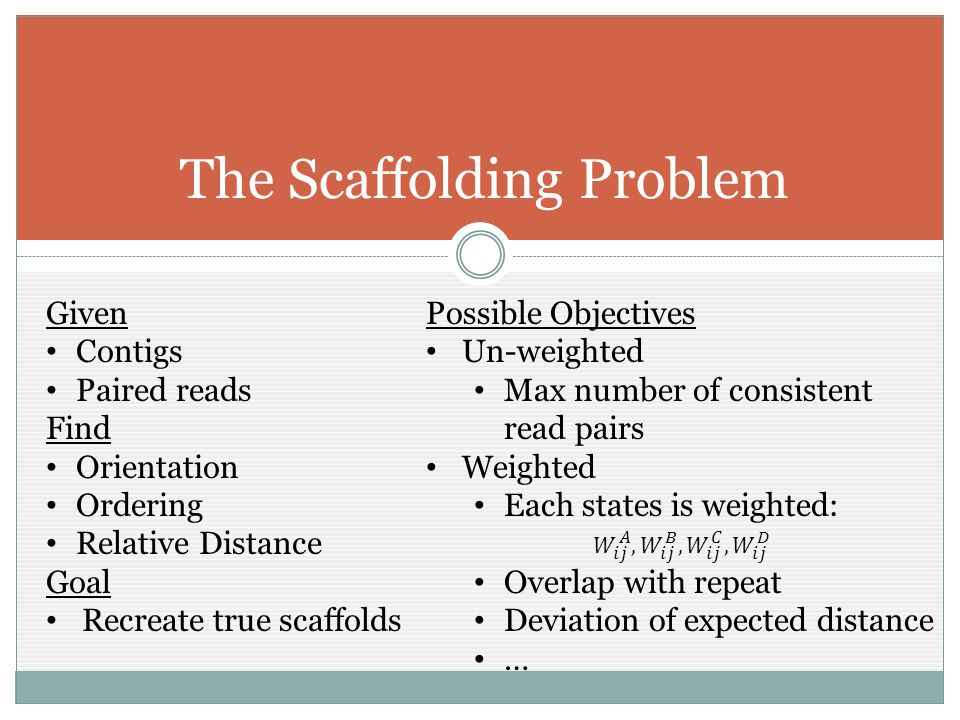 The Scaffolding Problem Given Contigs Paired reads Find Orientation Ordering Relative Distance Goal Recreate true scaffolds Possible Objectives Un-weighted Max number of consistent read pairs Weighted Each states is weighted: Overlap with repeat Deviation of expected distance …