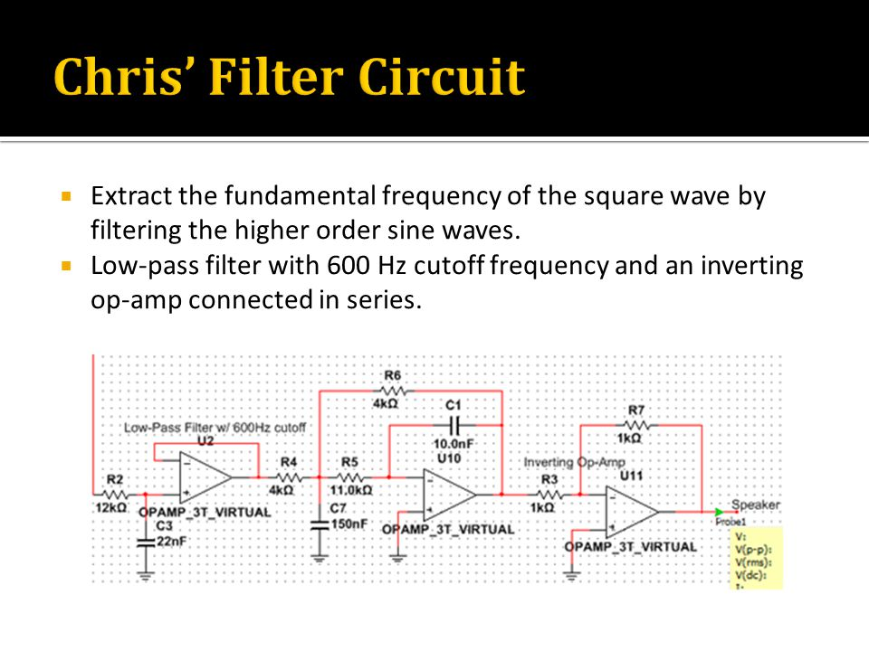  Extract the fundamental frequency of the square wave by filtering the higher order sine waves.  Low-pass filter with 600 Hz cutoff frequency and an