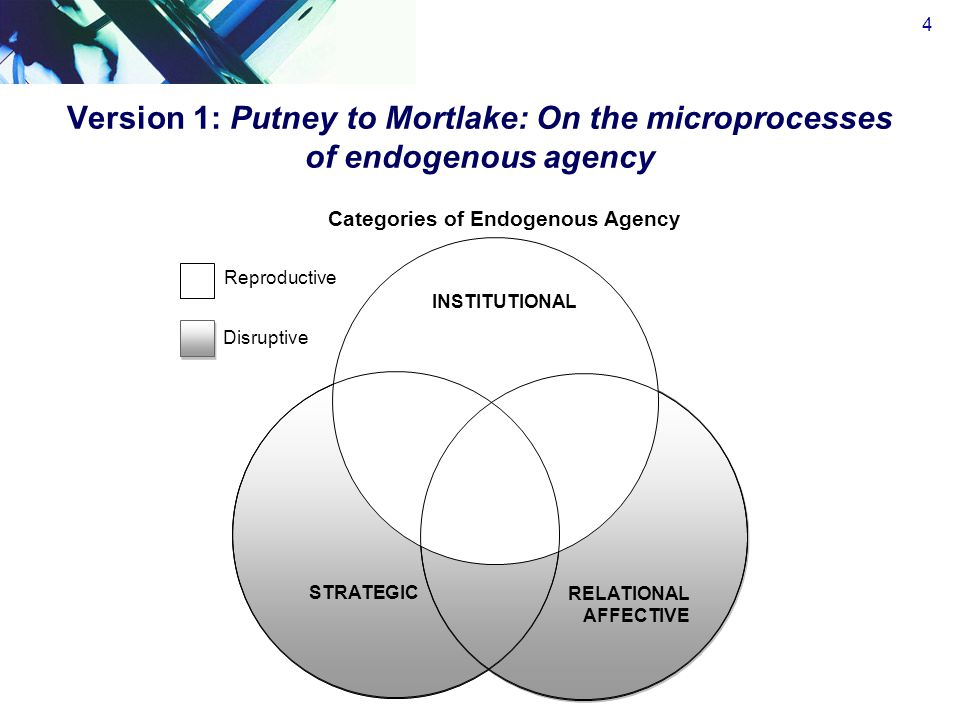Version 1: Putney to Mortlake: On the microprocesses of endogenous agency 4 STRATEGIC RELATIONAL AFFECTIVE RELATIONAL AFFECTIVE Reproductive INSTITUTIONAL Disruptive Categories of Endogenous Agency