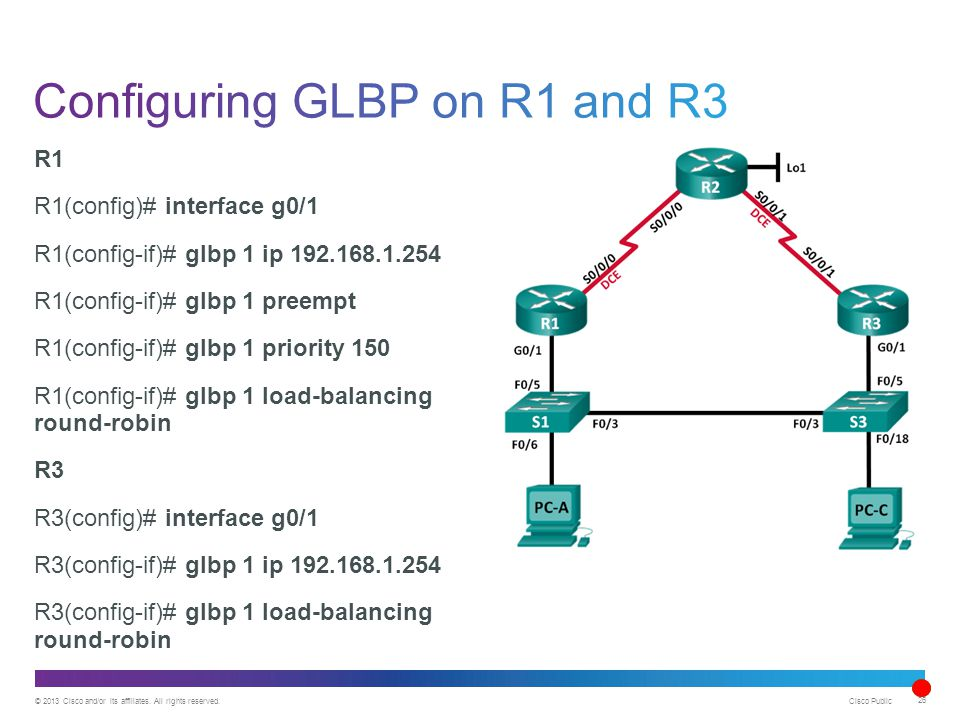 © 2013 Cisco and/or its affiliates. All rights reserved. Cisco Public 26 R1 R1(config)# interface g0/1 R1(config-if)# glbp 1 ip 192.168.1.254 R1(confi