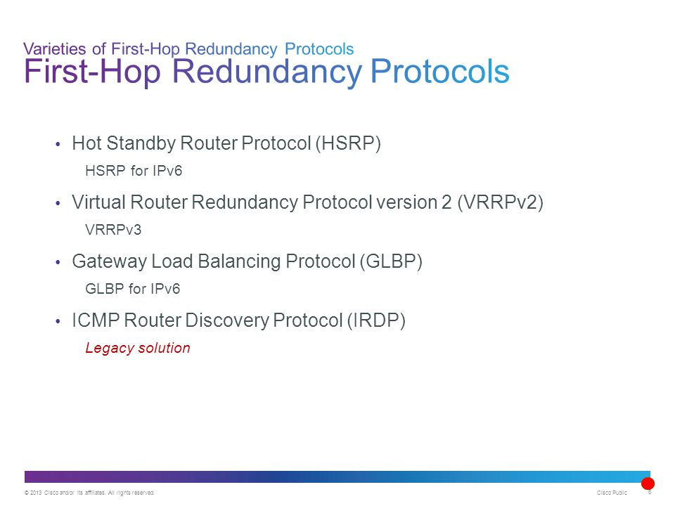 © 2013 Cisco and/or its affiliates. All rights reserved. Cisco Public 6 Hot Standby Router Protocol (HSRP) HSRP for IPv6 Virtual Router Redundancy Pro