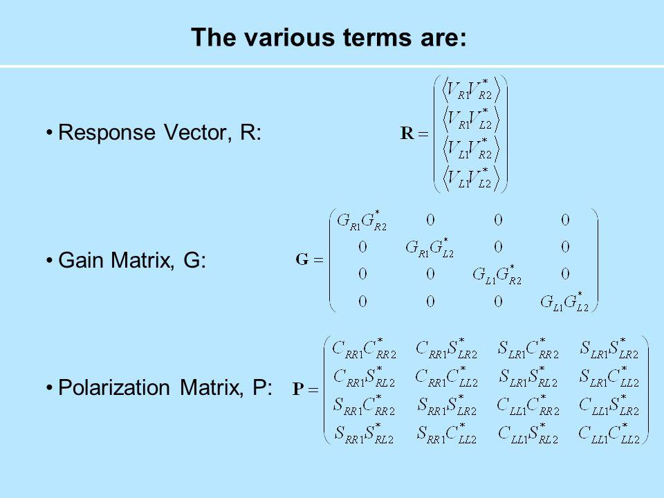 The various terms are: Response Vector, R: Gain Matrix, G: Polarization Matrix, P: