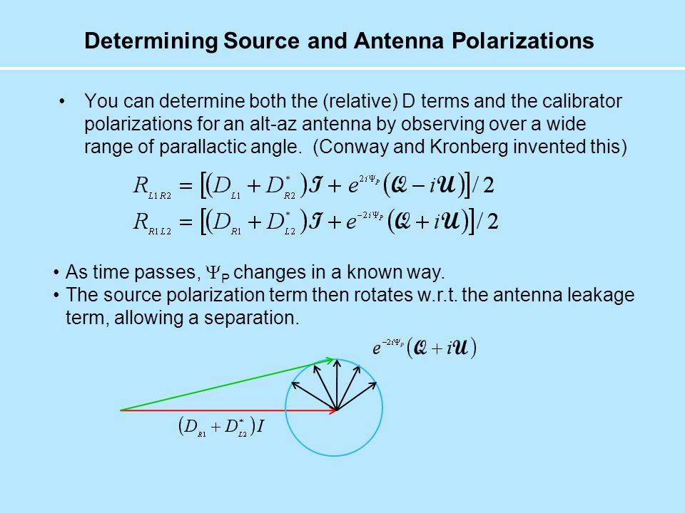 Determining Source and Antenna Polarizations You can determine both the (relative) D terms and the calibrator polarizations for an alt-az antenna by observing over a wide range of parallactic angle.
