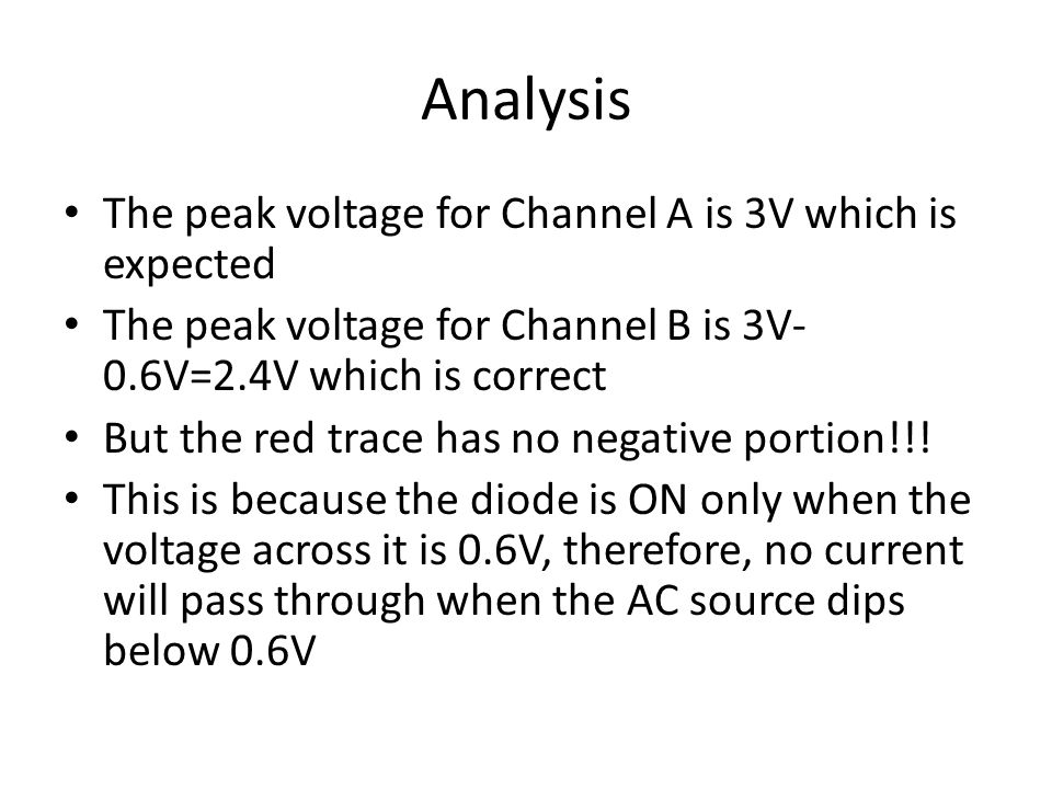 Analysis The peak voltage for Channel A is 3V which is expected The peak voltage for Channel B is 3V- 0.6V=2.4V which is correct But the red trace has no negative portion!!.