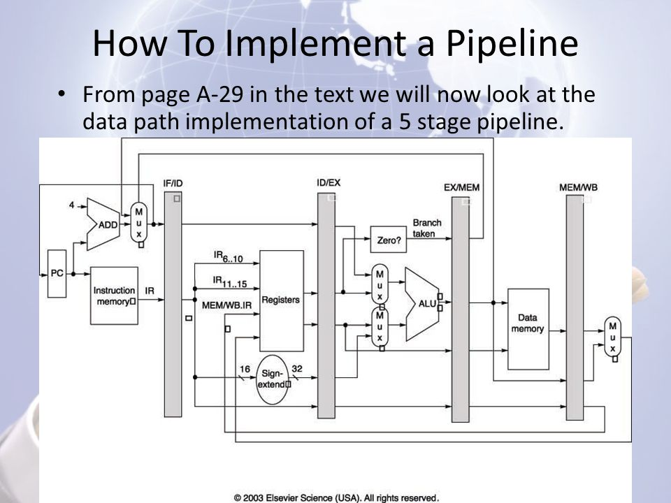 How To Implement a Pipeline From page A-29 in the text we will now look at the data path implementation of a 5 stage pipeline.
