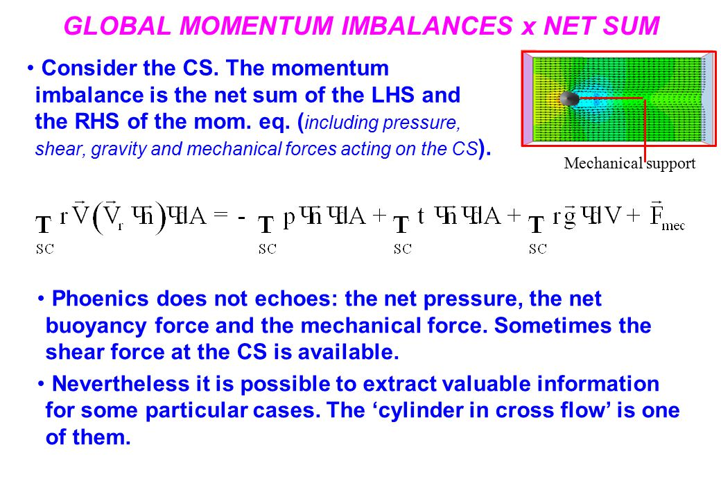 GLOBAL MOMENTUM IMBALANCES x NET SUM Consider the CS.
