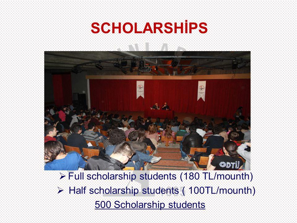  Full scholarship students (180 TL/mounth)  Half scholarship students ( 100TL/mounth) 500 Scholarship students SCHOLARSHİPS