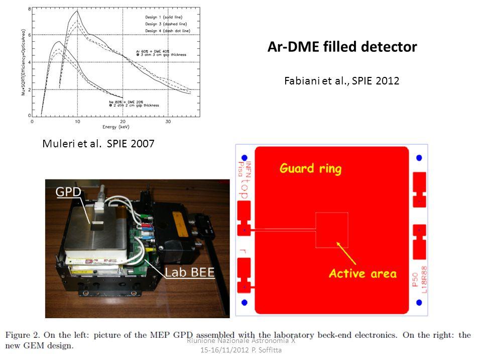 Ar-DME filled detector Riunione Nazionale Astronomia X 15-16/11/2012 P.