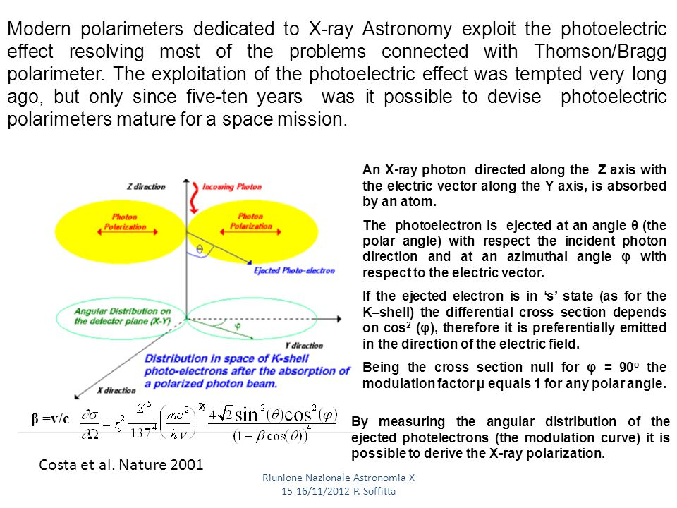 Heitler W.,The Quantum Theory of Radiation The photo-electric effect is very sensitive to photon polarization Modern polarimeters dedicated to X-ray Astronomy exploit the photoelectric effect resolving most of the problems connected with Thomson/Bragg polarimeter.