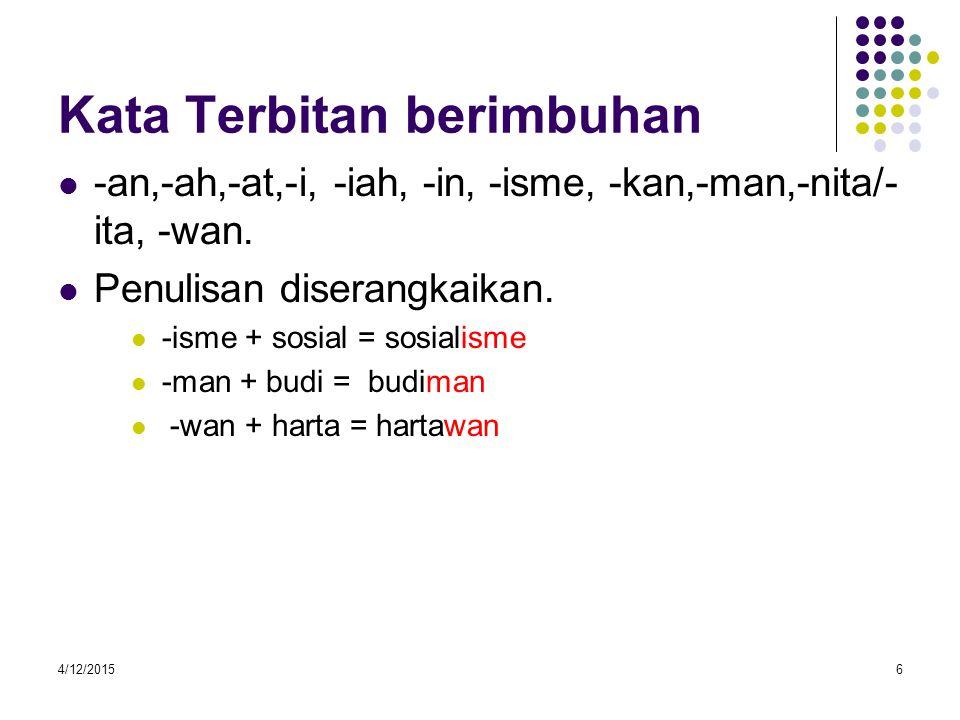 4/12/20156 Kata Terbitan berimbuhan -an,-ah,-at,-i, -iah, -in, -isme, -kan,-man,-nita/- ita, -wan.