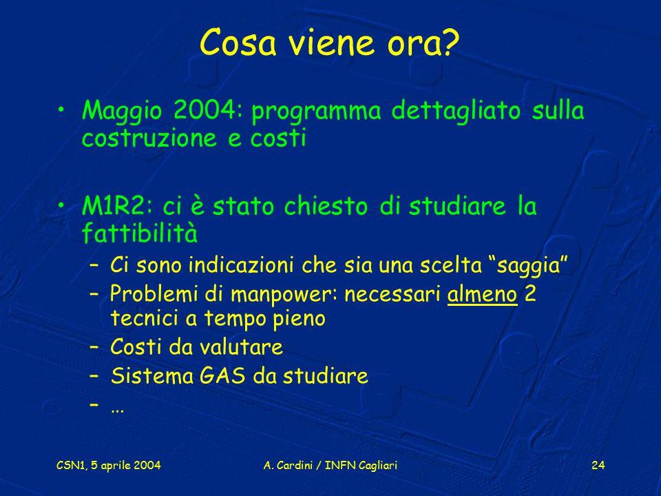 CSN1, 5 aprile 2004A. Cardini / INFN Cagliari24 Cosa viene ora? Maggio 2004: programma dettagliato sulla costruzione e costi M1R2: ci è stato chiesto
