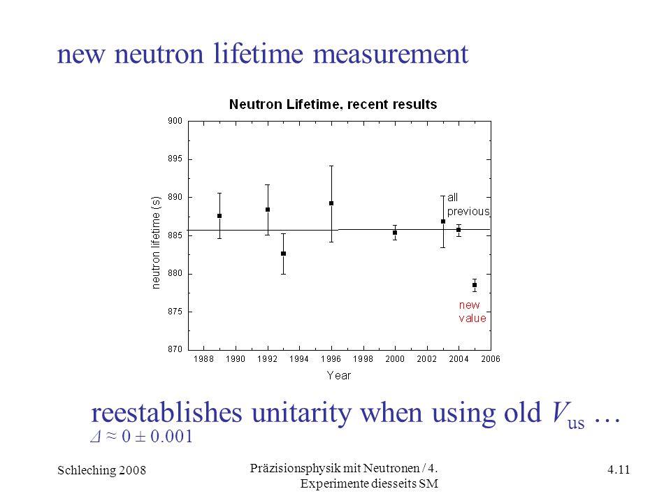 Schleching 2008 4.11 Präzisionsphysik mit Neutronen / 4. Experimente diesseits SM new neutron lifetime measurement reestablishes unitarity when using