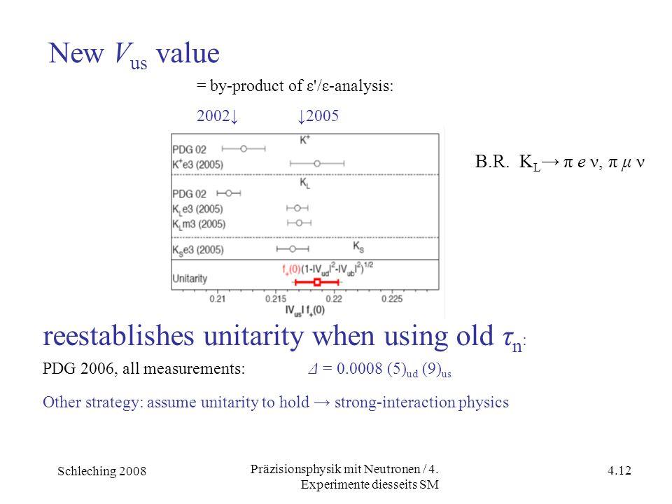 Schleching 2008 4.12 Präzisionsphysik mit Neutronen / 4. Experimente diesseits SM = by-product of ε'/ε-analysis: 2002↓ ↓2005 B.R. K L → π e ν, π μ ν r