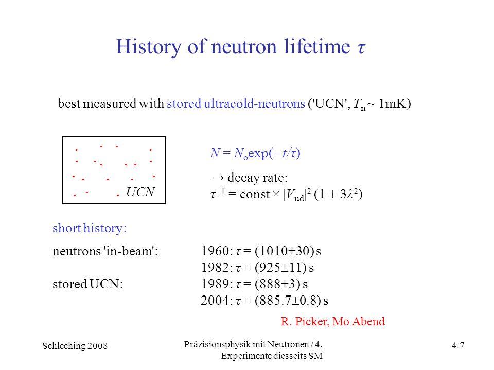 Schleching 2008 4.7 Präzisionsphysik mit Neutronen / 4. Experimente diesseits SM. · ·. · ·... · ·... ·. ·. UCN best measured with stored ultracold-neu