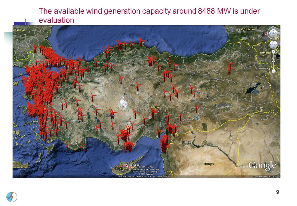 9 The available wind generation capacity around 8488 MW is under evaluation