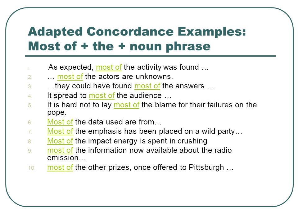 Adapted Concordance Examples: Most of + the + noun phrase 1. As expected, most of the activity was found …most of 2. … most of the actors are unknowns