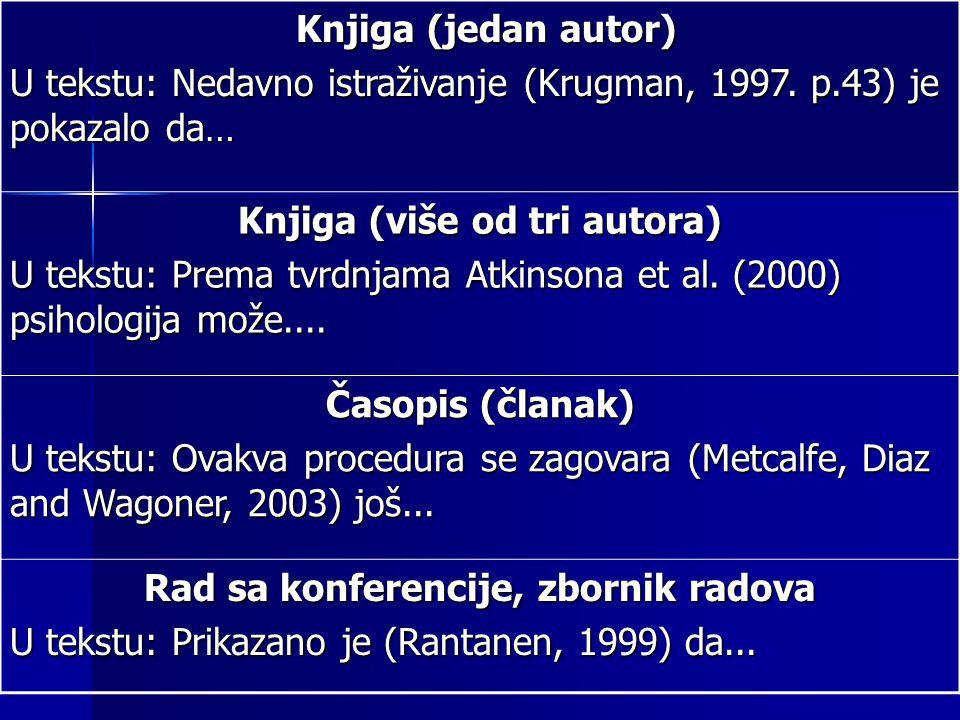 Knjiga (jedan autor) Knjiga (jedan autor) U tekstu: Nedavno istraživanje (Krugman, 1997.