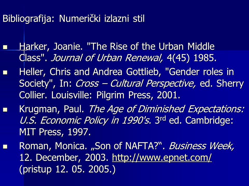 Bibliografija: Numerički izlazni stil Harker, Joanie.