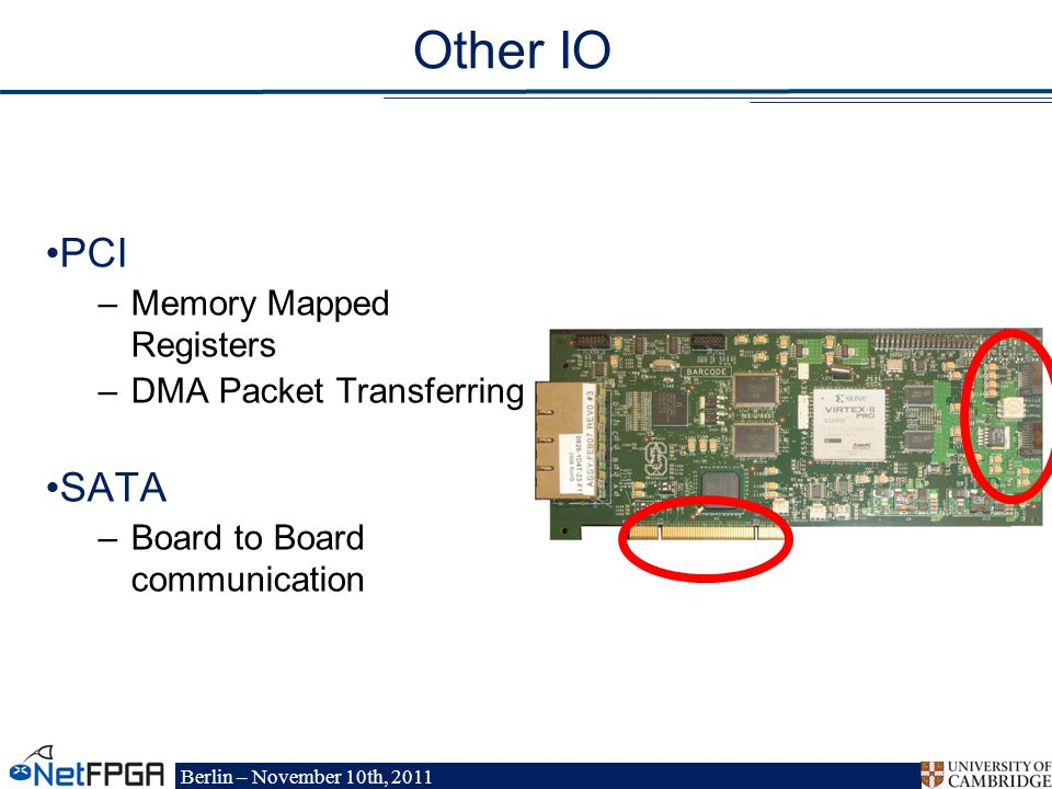 Berlin – November 10th, 2011 Other IO PCI –Memory Mapped Registers –DMA Packet Transferring SATA –Board to Board communication