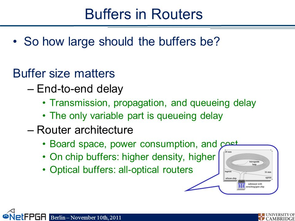 Berlin – November 10th, 2011 Buffers in Routers So how large should the buffers be.