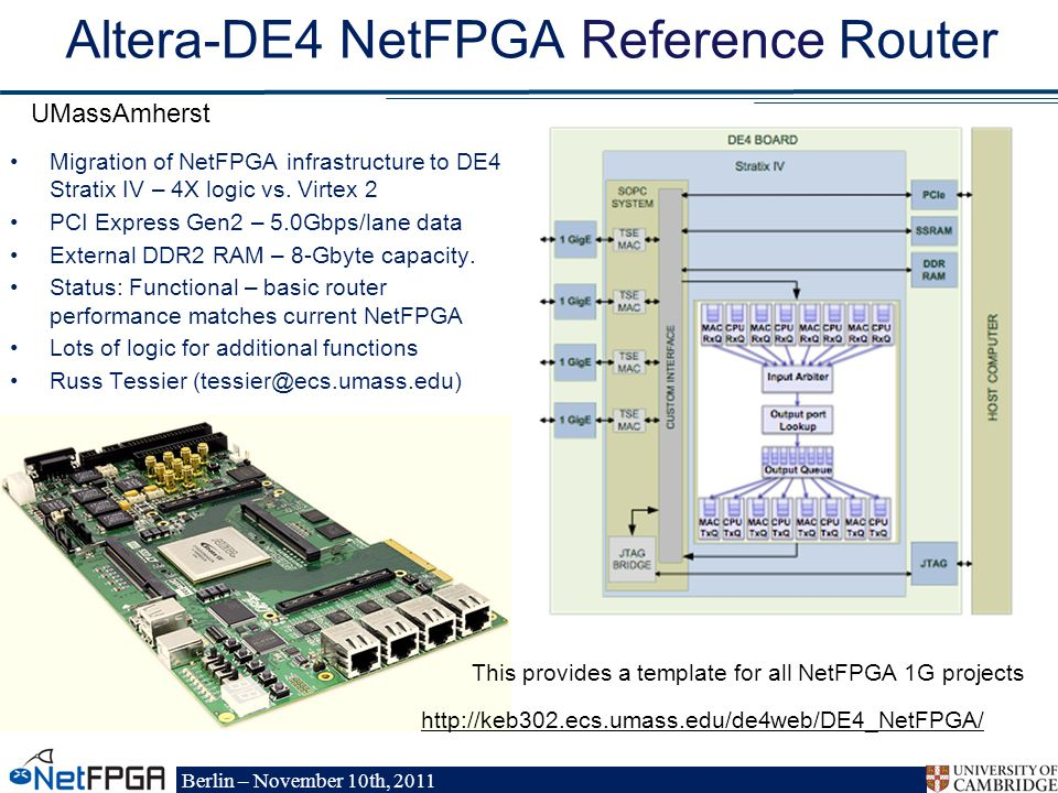 Berlin – November 10th, 2011 Altera-DE4 NetFPGA Reference Router Migration of NetFPGA infrastructure to DE4 Stratix IV – 4X logic vs.