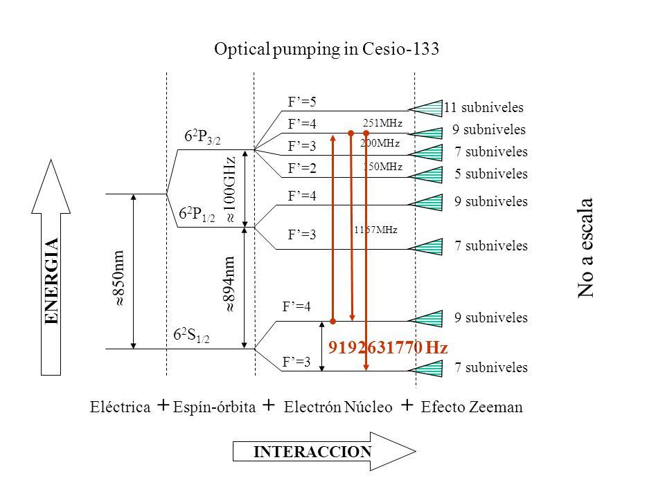 Optical pumping in Cesio-133 Eléctrica  850nm Electrón Núcleo 9192631770 Hz F'=5 F'=4 F'=3 F'=2 F'=4 F'=3 F'=4 F'=3 251MHz 200MHz 150MHz 1167MHz + Efecto Zeeman 11 subniveles 9 subniveles 7 subniveles 5 subniveles 9 subniveles 7 subniveles 9 subniveles 7 subniveles + INTERACCION ENERGIA Espín-órbita 6 2 P 3/2 6 2 P 1/2 6 2 S 1/2  100GHz  894nm + No a escala