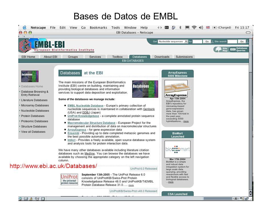 http://www.ebi.ac.uk/Databases/ Bases de Datos de EMBL