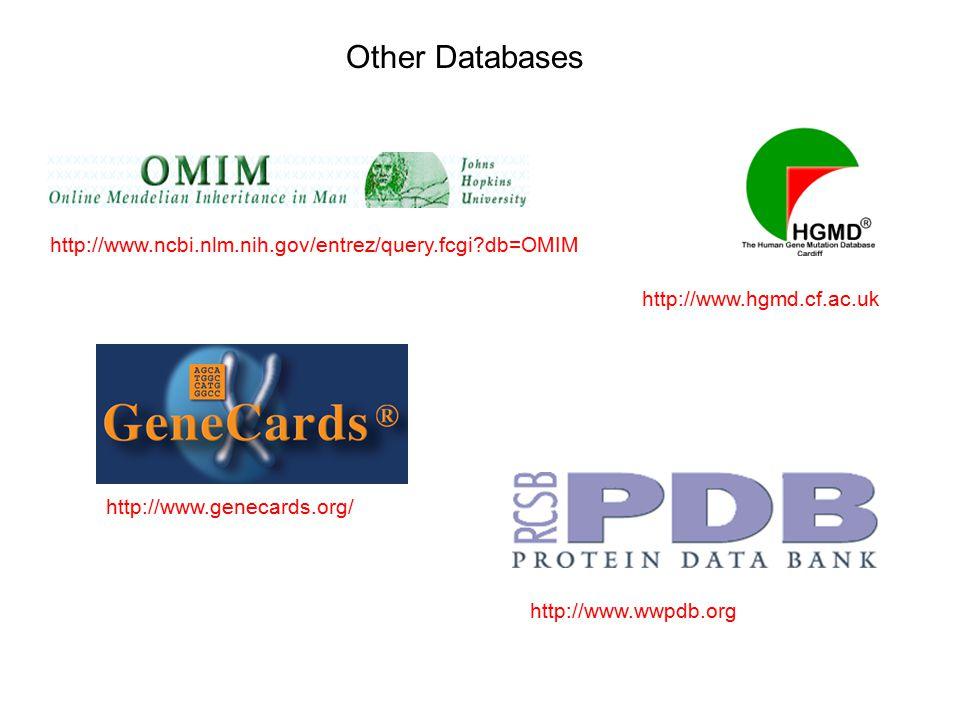 http://www.ncbi.nlm.nih.gov/entrez/query.fcgi db=OMIM Other Databases http://www.hgmd.cf.ac.uk http://www.genecards.org/ http://www.wwpdb.org