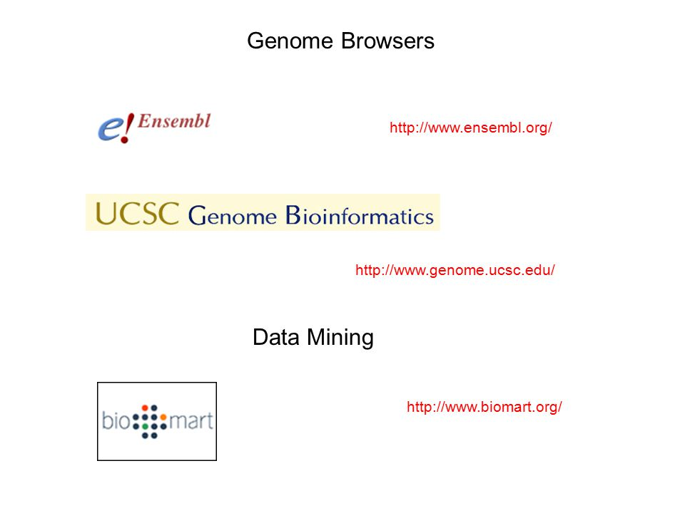 Genome Browsers http://www.ensembl.org/ http://www.genome.ucsc.edu/ http://www.biomart.org/ Data Mining