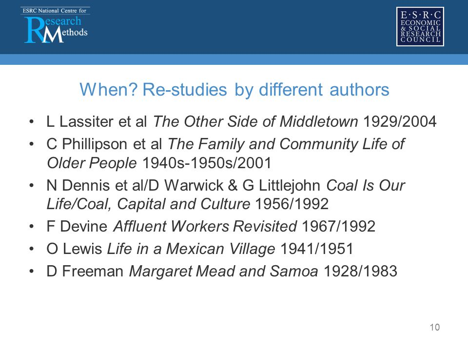 10 When? Re-studies by different authors L Lassiter et al The Other Side of Middletown 1929/2004 C Phillipson et al The Family and Community Life of O