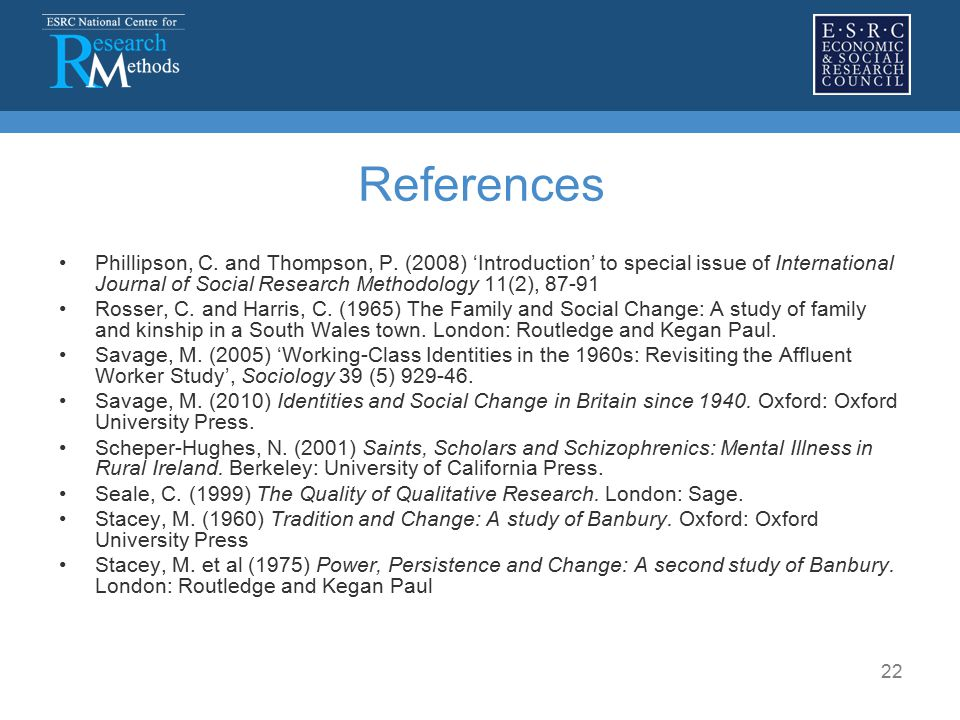 22 References Phillipson, C. and Thompson, P.