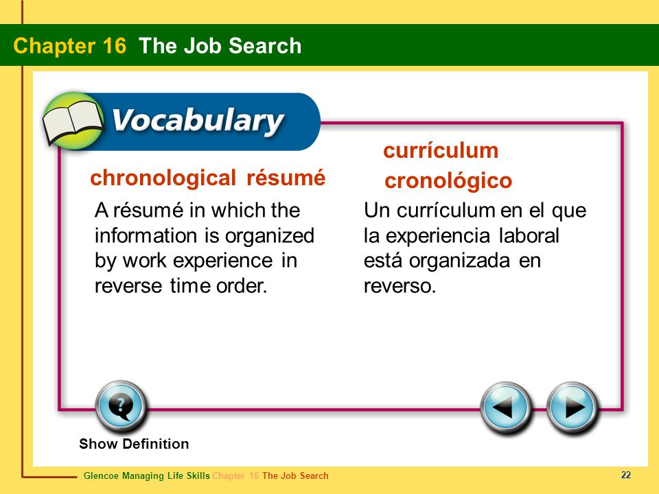Glencoe Managing Life Skills Chapter 16 The Job Search Chapter 16 The Job Search 22 chronological résumé currículum cronológico A résumé in which the