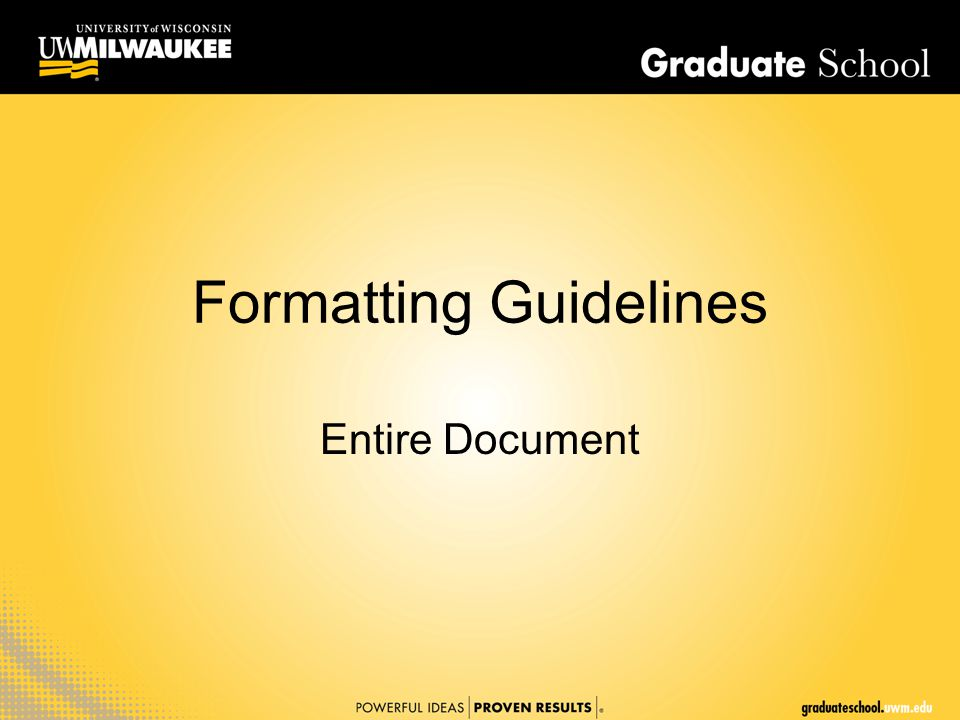 Formatting Guidelines Entire Document